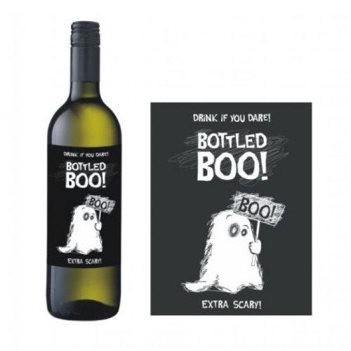 Generique - Geister-Flaschenetiketten Halloween-Flaschendeko 10 Stück schwarz-Weiss 9,5x12,5cm Einheitsgröße