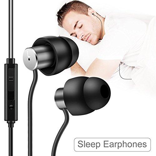 Schlaf Kopfhörer Ohrstöpsel, Ultra-weiche Silikon-Schallisolierung Kopfhörer mit 3,5 mm Stecker, Superkomfortable Ohrstöpsel mit Mikrofon und Lautstärkeregler für Schlaf, Schwarz, von AGPTEK