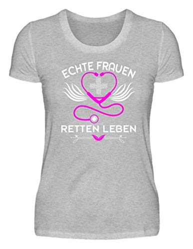 irt - Krankenschwester Shirt · Geschenk für Pflegekräfte · Spruch: Echte Frauen Retten Leben ()