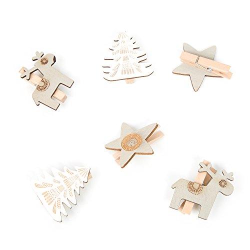 Lot de 6 pinces en bois de Noël ornement Pinces Pinces décoratives 5 cm avec renne étoile de Noël en blanc et beige Pinces à linge Clips Shabby Chic Décoration de Noël décoratif à clips