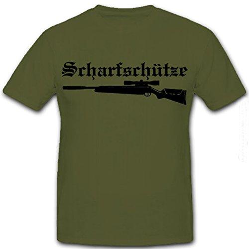 Sniper Szenario Scharfschütze Luftgewehr Jäger Sniper Sportgewehr Zielfernrohr Schalldämpfer- T Shirt #4279, Farbe:Oliv, Größe:Herren XXL