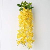 Styhatbag Maceta para Colgar en la Pared Planta Decorativa de la Cesta de la Flor del balcón de la Planta de la Pared del balcón de la Vid Artificial Titular de Maceta (Color : Amarillo)