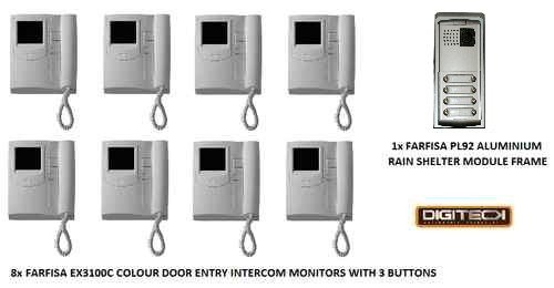 B11 - DOOR ENTRY INTERCOM SYSTEM, 8x COLOUR VIDEO MONITOR HANDSETS & 1x PANEL