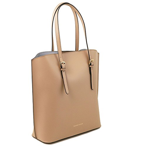 Tuscany Leather Sibilla - Sac shopping en cuir Ruga - TL141512 (Beige) Taupe clair