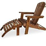 Deuba® Sonnenstuhl Adirondack | Akazien Holz mit Fußstütze klappbar Armlehnen Deckchair Liegestuhl Holzstuhl Gartenstuhl
