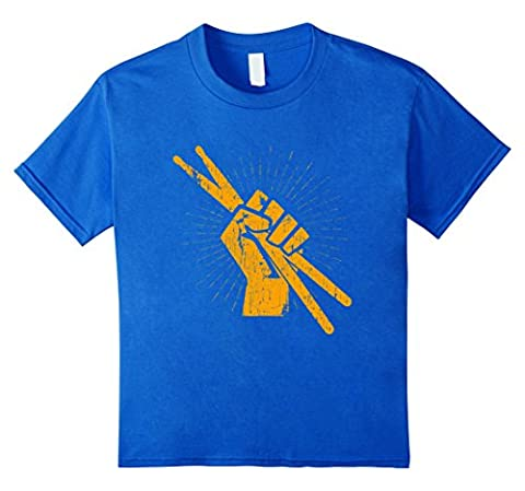 Drummer Drum Sticks T shirt Percussion Lover Rock Gifts Tee Kids 4 Royal Blue