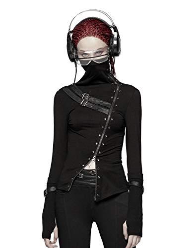 Punk Rave Women's Black Gothic Steampunk Turtleneck Zipper Long Sleeve T-Shirt Tops L