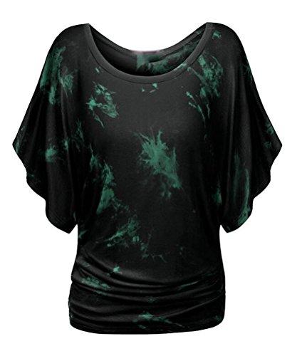 SMITHROAD Damen T-Shirt mit Aufdruck Print und Fledermausärmel Kurzarm Tunika Rundhals Ausschnitt Loose Fit Farbe 11,M