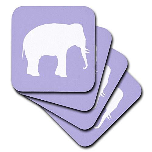 inspirationzstore Vintage Kunst–Lila Elefant Silhouette. Weiß Wildlife. Modern Wild Animal Shadow–Untersetzer, violett, set-of-4-Soft