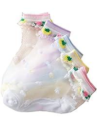 Lot De 5 Paires Chaussettes Basses Socquettes D'été En Coton Et En Tissu De Soie A Fleurs Sweet Princesse Pour Fille 1-12 Ans
