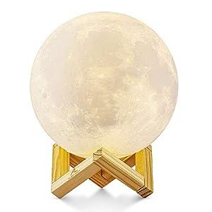 3D Printed Moon Light ALED LIGHT 5.9 Inch 15cm Diameter Lunar Night Light Lamp Dimmable 3 Color Selectable Bedroom Decor USB Charging Mood Light for Bedroom Cafe Bar Dinning Room