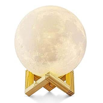 Lampada Luna 3D Stampata, ALED LIGHT Piena Lampada Moon Luna con Diametro 15cm e 3 Colori, Ricarica USB Decorativo LED Luce Notturna Toccare il Controllo, Decoro per Stanza Letto Mood Light per Camera
