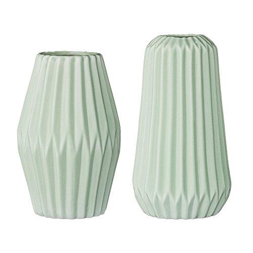 Bloomingville Vasen Set mit strukturierter Oberfläche, mint, Ø10x10&x18cm