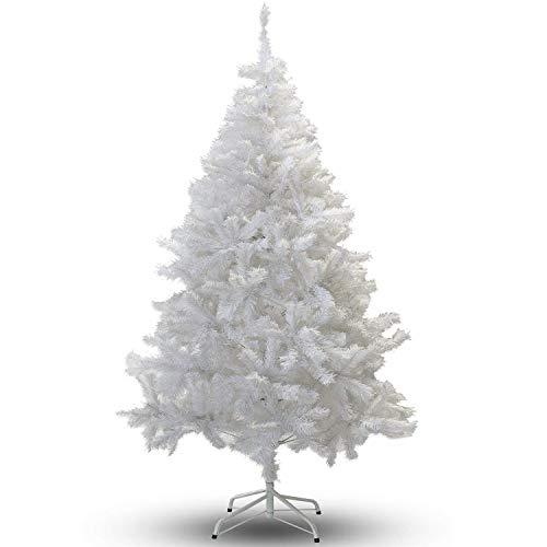 Árbol de Navidad Artificial PVC 180 cm H, 650 ramas, Metal, Blanco...