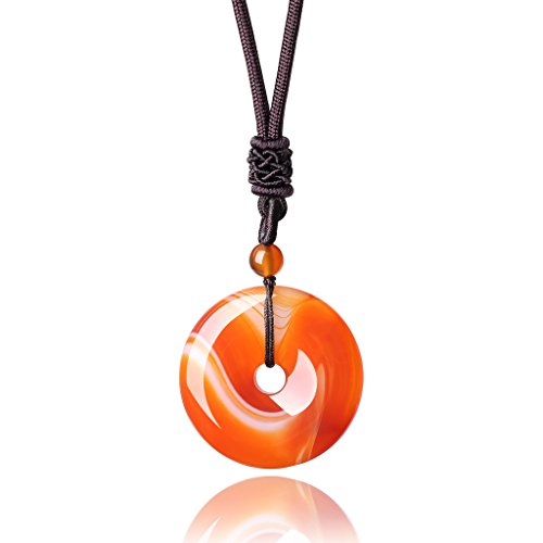 adjustable-round-donut-orange-agate-semi-precious-stones-protection-pendant-necklace