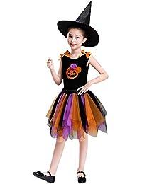 K-youth Vestido de Princesa Halloween Disfraz Bruja Vestido Infantil Niñas Costume Cosplay de Bruja Disfraz de Halloween Bruja Ropa para Carnaval Partido Disfraz de Bruja para Niña