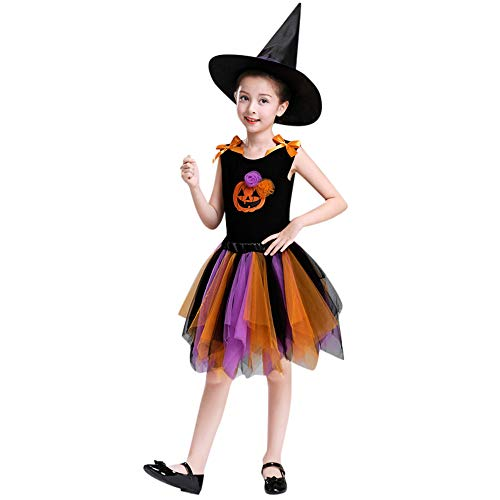 (BaZhaHei Kleinkind Kind Baby Mädchen Halloween Rock Tops Party Sets Hut Kürbis Print Kleidung Halloween Performance Kostüm Kostüme (4T, Orange))