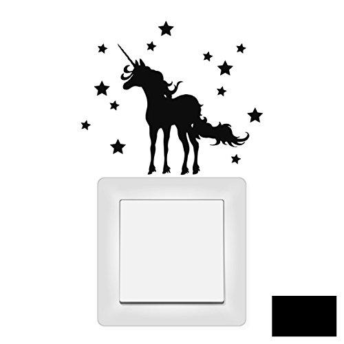 Lichtschaltertattoo Wandtattoo Wandbild Aufkleber Sticker Einhorn mit Sternen M1948 ausgewählte Farbe: *schwarz*