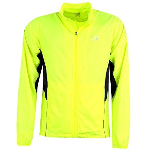 mens hi viz reflective run cycling jacket autumn winter 2016. bright fluorescent yellow reflective trim. breathable. cycle, jog, train, workout, sports. hi vis dark night. washable fast dry. visible