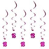 Oblique Unique® Hänge-Deko Alter des Geburtstagskindes - 18 Jahre - mit Bänder und Ösen 5er Pack