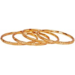 Dussehra n Diwali festival Gift - Jewbang Plain gold plated 4 bangles for women n girls JB525