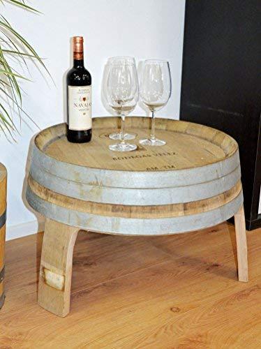 Beistelltisch, Wohnzimmertisch, Kleiner Tisch aus halbem Weinfass - Höhe 40cm, Durchmesser Oben ca. 56cm