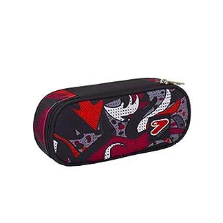 Estuche Seven ovalado Zip Round Plus The Double Project Flame rojo blanco negro + bolígrafo + llavero silbato