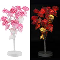 Smandy 24 LED Rose Flower Lamp Night Light Battery Operated LED Rose Lamp Home Decor for Valentine