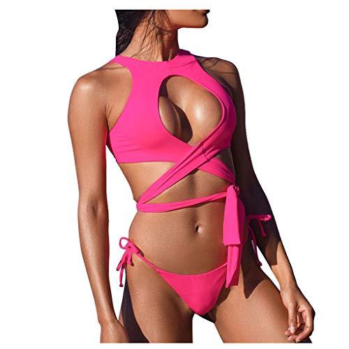 DOLDOA Chemiser Damen Einfarbig Badeanzug Damen Bauchweg Rückenfrei Figurformend Sportlich Beachwear Bademode Strandmode