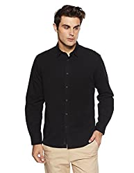 Indian Terrain Mens Solid Regular Fit Casual Shirt (ITA17SHK145_Black_M)