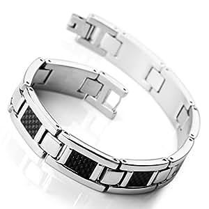 MunkiMix Acier Inoxydable Carbone Fibre Bracelet Lien Poignet Ton d'Argent Noir Rectangulaire Rectangle Carré Homme