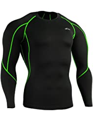 emFraa Homme Femme Sport Compression Black Base layer Tee-Shirt Long sleeve S~2XL