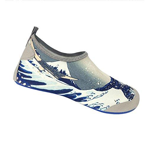 NAN Schwimmschuhe 600S Schnell trocknende Ober- + Deo-Einlegesohle Unisex Sommer Schnell trocknend Leichte Watsocken Strandschuhe Schnorchelschuhe Tauchschuhe Laufschuhe ( Farbe : Aqua blue , größe : M(35-37) )
