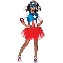 Rubie's - Disfraz infantil para niñas, diseño del Capitán América de Marvel, para 3-4 años, altura de 1,10-1,21m