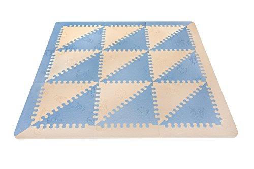 LuBabymats - Tappeto a puzzle per bambini, in gomma EVA. Pavimento extra imbottito per bambini in baby blu e beige