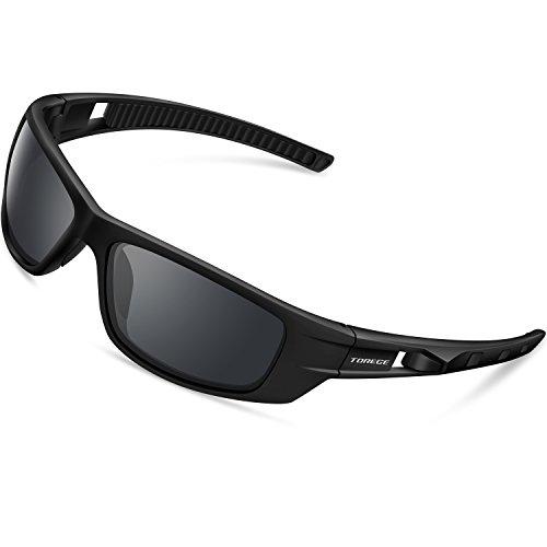 Torege Sport-Sonnenbrille polarisierte Sonnenbrille für Mann Frauen Radfahren Laufen Angeln Golf TR040, Black&Black&Gray Lens …