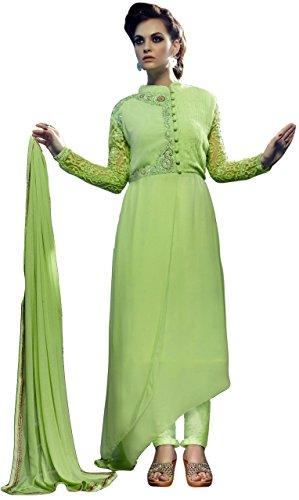 Justkartit Women's Ethnic wear Green Colour Faux Georgette Resham Embroidery Semi-Stitched Salwar...