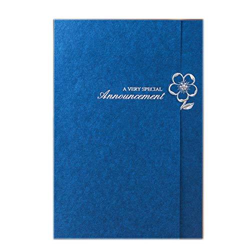 HYMY Blaue Einladung Party Einladung - Druckbare Blankopapier Und Umschlag - Hochzeit Geburtstag Party Abschlussfeier (Packung Mit 50),Blue (Eleganter 50 Geburtstag Einladungen)