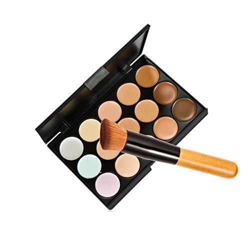 Zeagoo 15 couleurs de maquillage Correcteur Teint Crème cosmétique Palette Outils Set avec pinceau