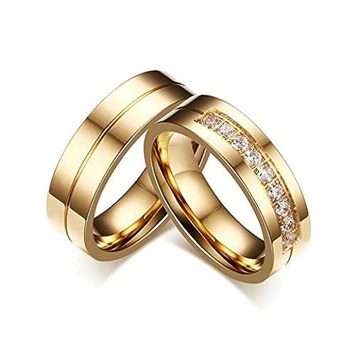 Bishilin 18K Vergoldet Hochzeit Ringe Set Für Herren und Damen Cubic Zirkonia CZ 2 Stücke Damen Größe 57 (18.1) & Herren Größe 67 (21.3)