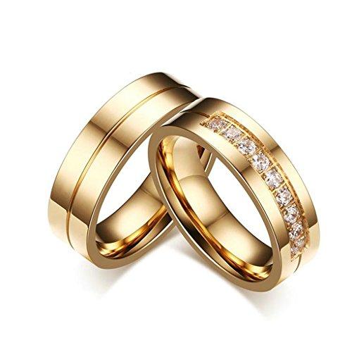 Bishilin 18K Placcato Oro Acciaio inossidabile Anelli Cuore Coppia Anelli Fedines Sets per Her Donna Dimensioni 15 & Uomo Dimensioni 17 - 14k Dell'anello Indiano