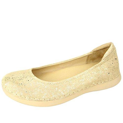 Alegria Petal Cuir Ballerines Gold Flake