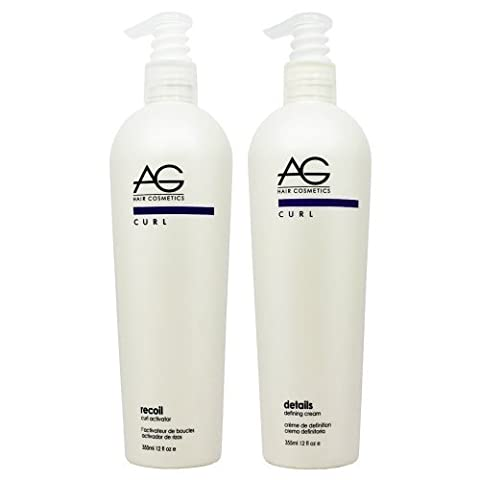 AG Hair Recoil Curl Activator & Details Defining Cream 12oz Set by AG Hair Cosmetics (Recoil Curl-activator)