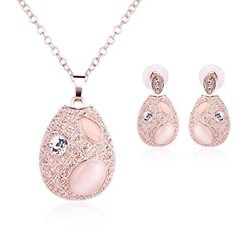REKYO Rose Gold Kristall Teardrop Anhänger Halskette Ohrringe stilvolle und elegante Schmuck-sets mit Geschenk-box