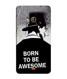 PrintVisa Designer Back Case Cover for Microsoft Lumia 540 Dual SIM (Born To Be Awesome Man In Black Cloth Cigarette)