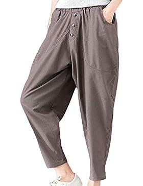 Logobeing Pantalones Mujer Pantalones Sueltos Pantalones de Bolsillo de Lino de Algodón de Otoño Casual Pantalon...