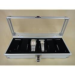 Alu Uhrenkoffer für 6 Uhren Uhrenbox Schaukasten Uhrenkasten Uhrenvitrine Uhrenschatulle
