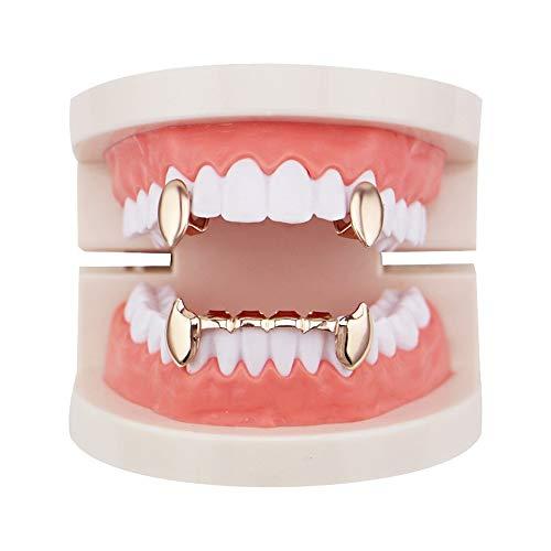 2 Oben und unten Grills Set Shiny Hip Hop Teeth Grills Zähne Mundkappen (Farbe : Rose Gold) ()