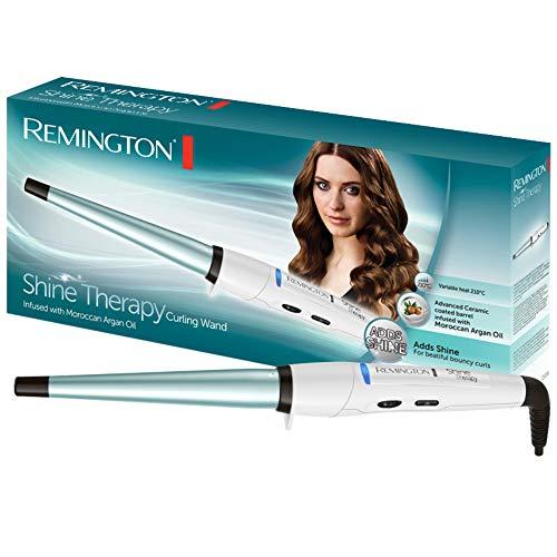 Remington CI53W Lockenstab Shine Therapy, kegelförmig, 13-25 mm für Spirallocken, weiß/blau