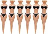 6pcs Bikini Model Golf Tees Divot Tools Novelty Gift 78mm Black